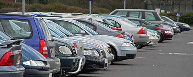 Motor vehicles in a carpark